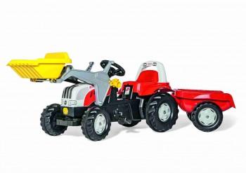 rolly toys - rollyKid Steyr 6165 CVT rot inkl. Lader und Anhänger