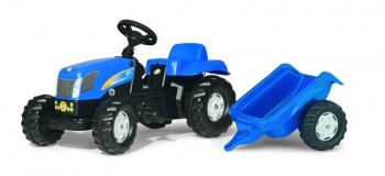 rolly toys - rollyKid New Holland T 7040 blau inkl. Anhänger