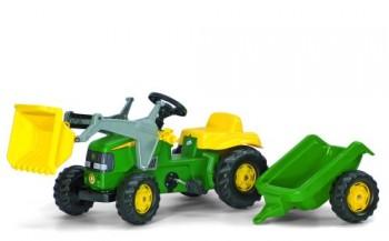rolly toys - rollyKid John Deere grün inkl. Lader und Anhänger