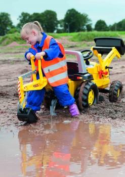 rolly toys - rollyJunior New Holland Construction gelb inkl. Ladeschaufel und Heckbagger