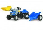 rolly toys - rollyKid New Holland T 7040 blau inkl. Lader u. Anhänger
