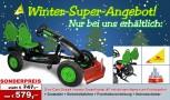 Winter Super Angebot! Dino Cars Gokart linostar Greenfighter AF mit Schneeschieber und Zusatzsitz & Fahne